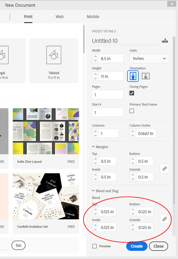 InDesign Bleed Setup